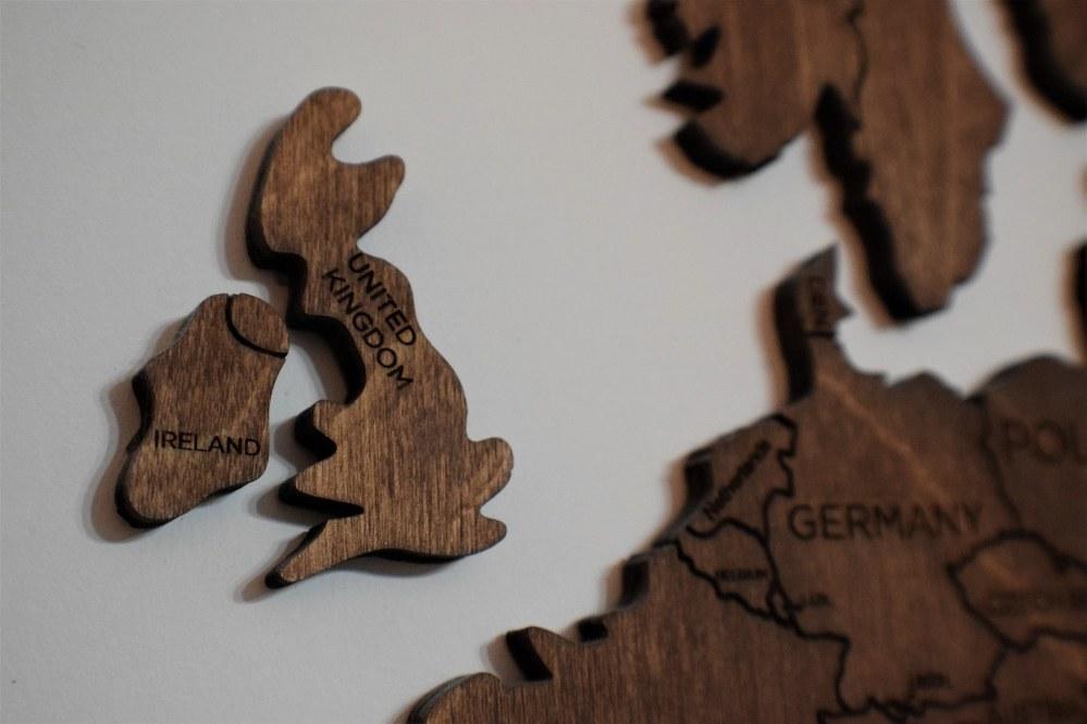 wooden jigsaw map of UK