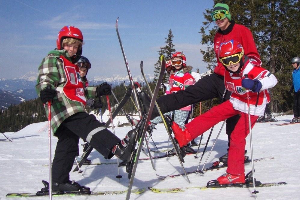 kids at ski school on ski holiday