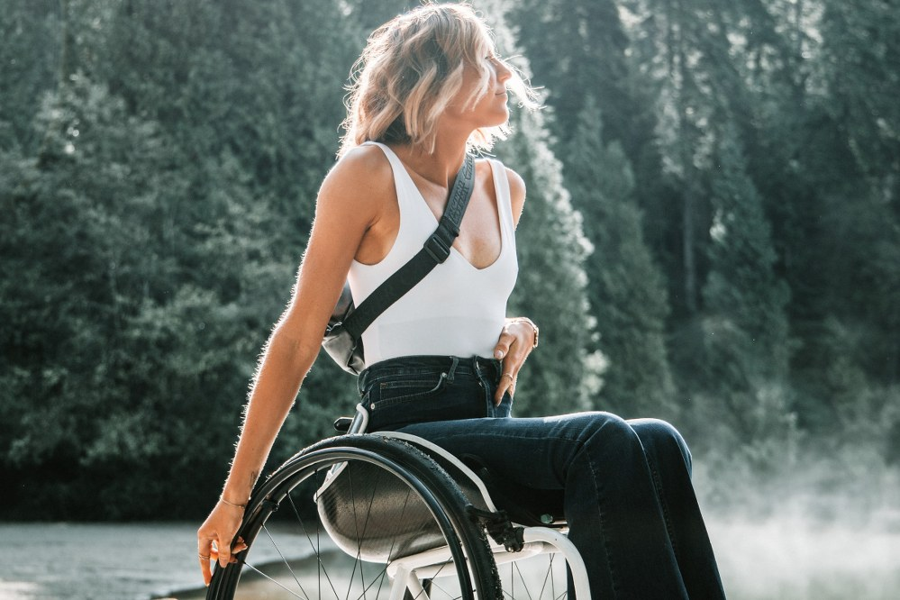 woman in wheelchair on holiday